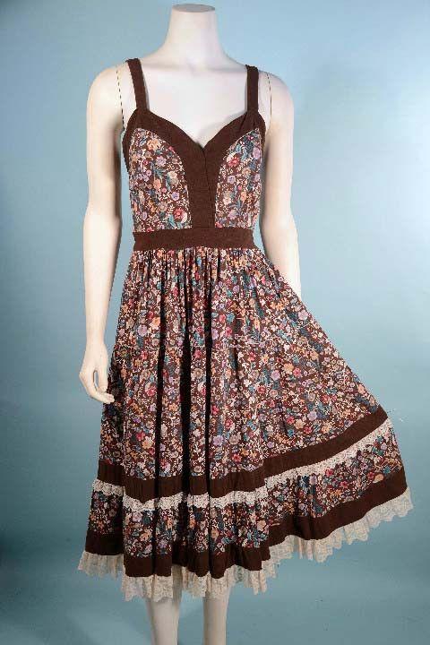 "Vintage 70s Brown Floral Calico Print Prairie Dress, Festival Boho Hippie Summer Dress, Strapless Ruffle Lace Midi 26"" Waist"