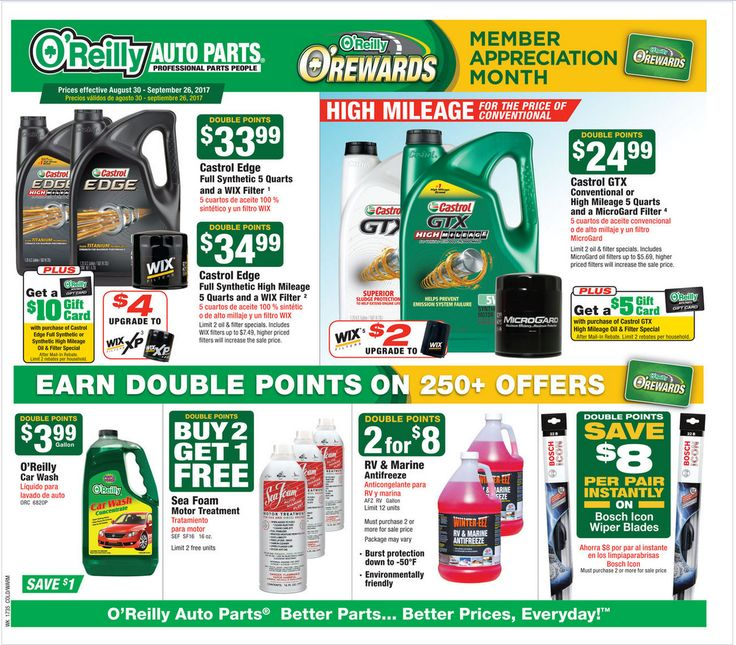 O Reilly Auto Parts August 30 - September 26, 2017 - http://www.olcatalog.com/oreilly-auto/oreilly-auto-parts.html