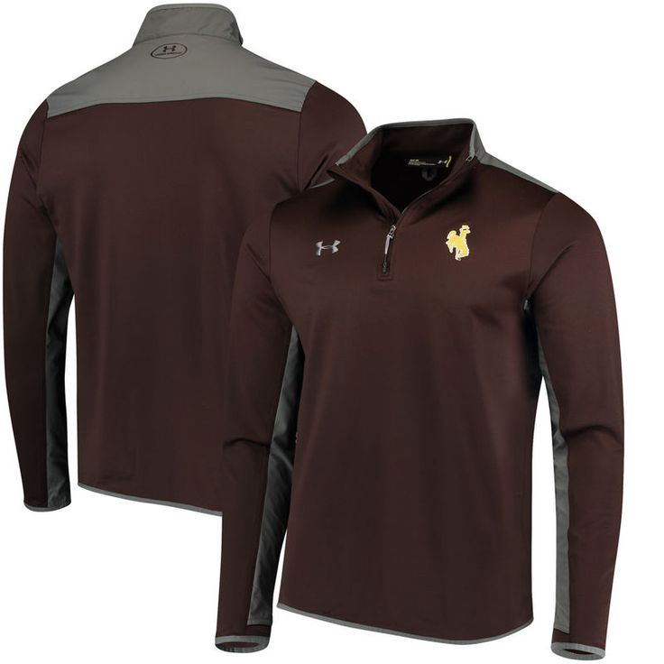 Wyoming Cowboys Under Armour Quarter-Zip Pullover Jacket - Brown