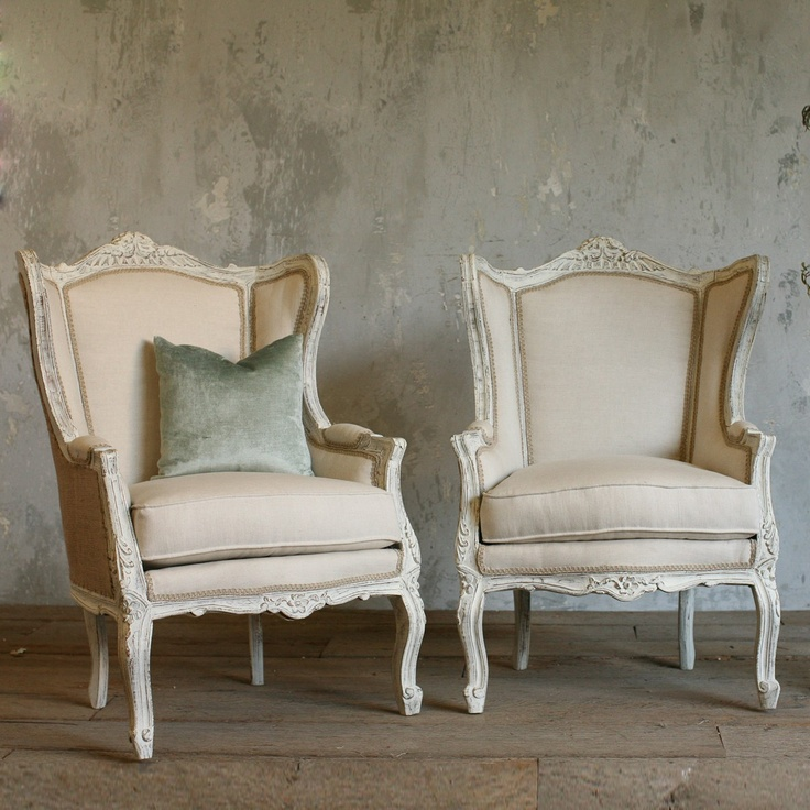 Nice Wonderful Wingback Bergeres With French Country White Washed Finish And  Burlap Upholstery