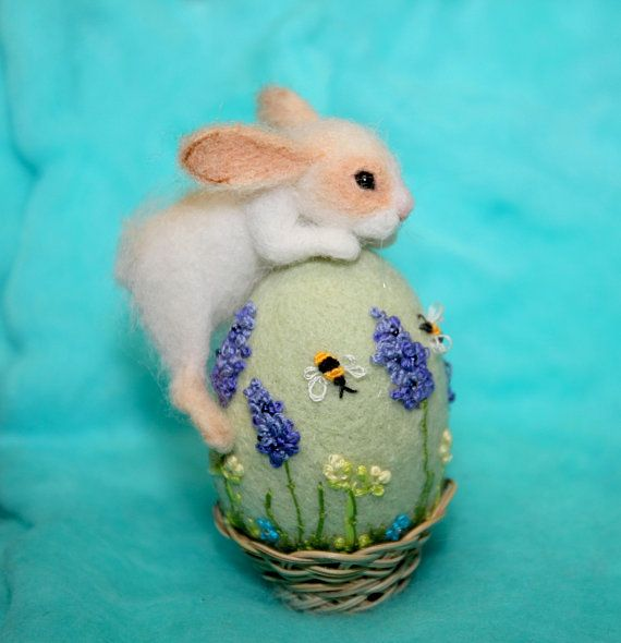 easter decor Needle felted  rabbit Easter egg gift miniature bunny easter bunny felted miniature animal figurines