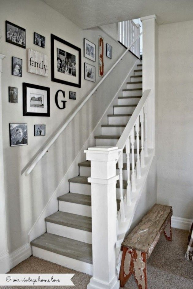 The stairs were painted with Annie Sloan chalk paint in French Linen, distressed, then dry brushed with a little white paint. Description from pinterest.com. I searched for this on bing.com/images