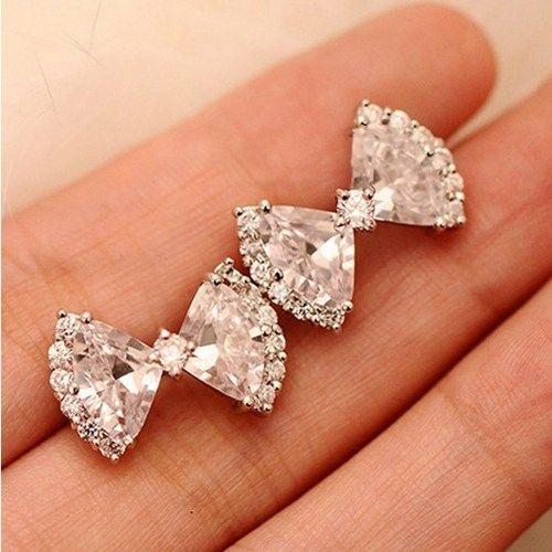 Zircon bow earrings - want these!!