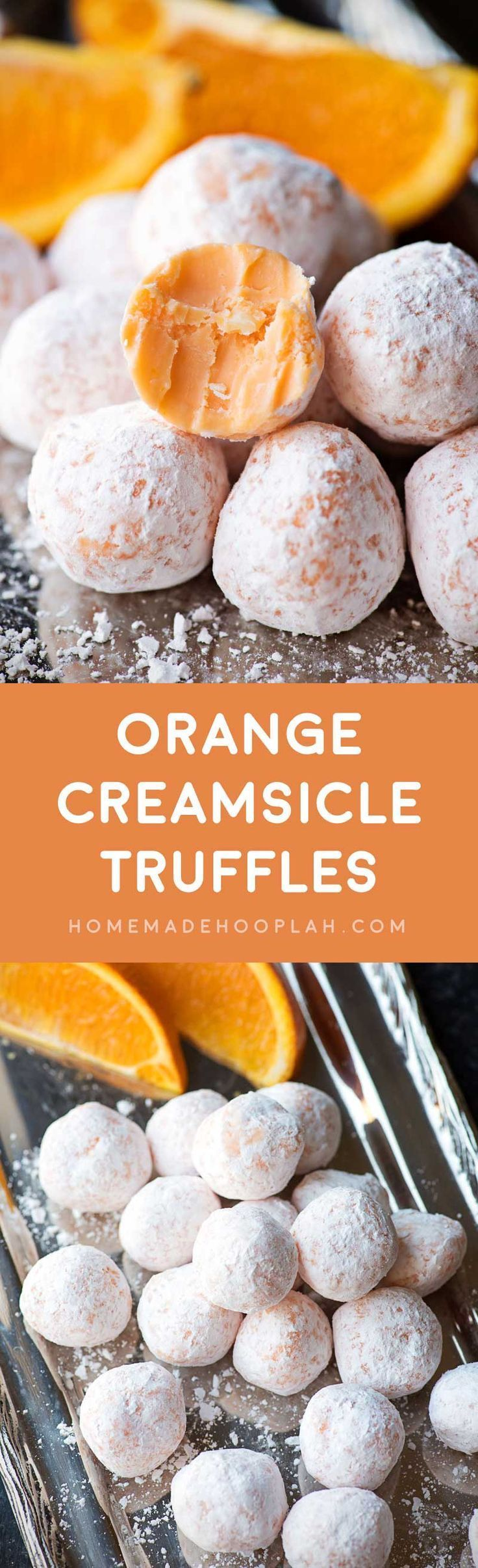 Orange Creamsicle Truffles! Delicious orange truffles that will remind you of all the creamsicle treats you had as a kid. Easy to make and a great snack for parties! | HomemadeHooplah.com