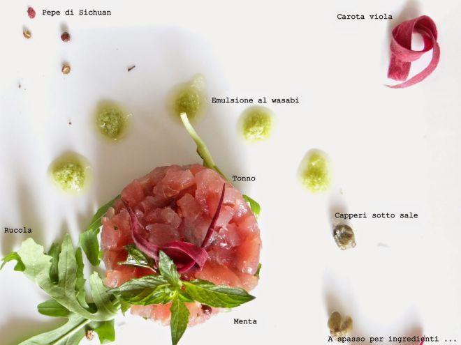 Ricetta Tartare di tonno, menta e pepe di sichuan, con capperi ed emulsione al wasabi