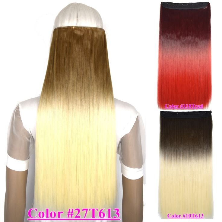"""24""""(60cm) 120g straight clip in hair extensions hot resistant synthetic 5 clips on hair piece ombre colors"""