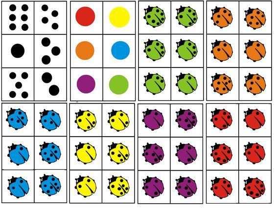 matrix lieveheersbeestjes. combineer de kleur van het beestje met het aantal stippen op de rug: