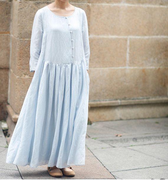 Blue Women Dress Linen Silk Dress Summer Dress by fashiondress6, $179.99