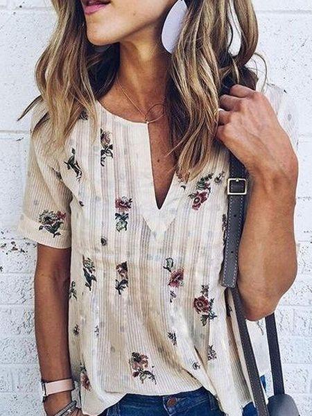 568ea6396c16 White V-neck Floral Short Sleeve Blouse Top