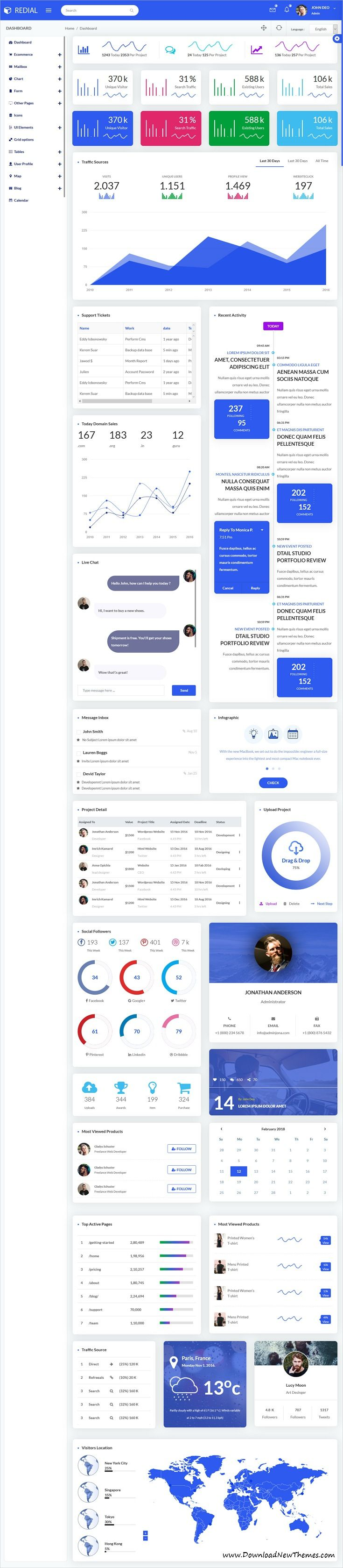 Redial is clean and modern design responsive #bootstrap #dashboard template for custom #admin panels, CMS, CRM, SaaS, and web applications website to live preview & download click on Visit 👆