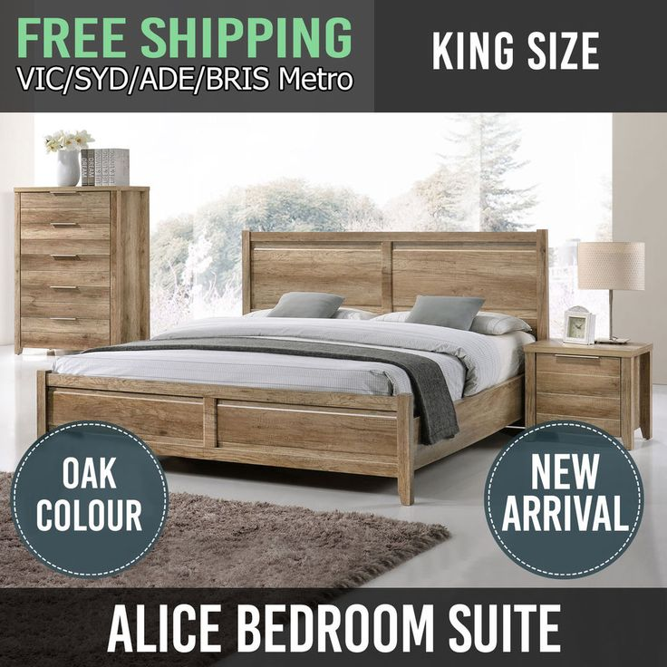 Bedroom Suite King Size MDF Aesthetic Strong Pole Legs Oak Flat Pack 4Pcs Alice