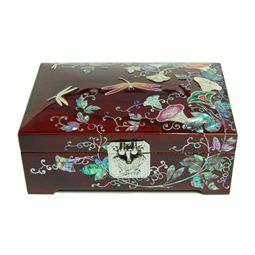 Mother of Pearl Jewelry Wood Box Inlaid with Morning Glory Flower