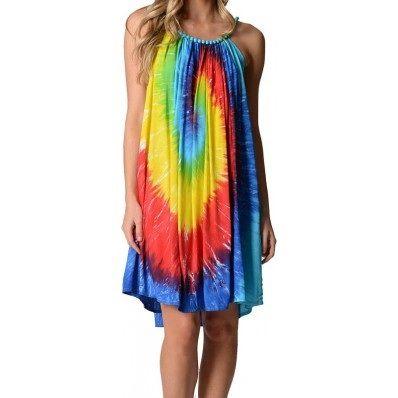 I'm selling Short Material Covered Beaded Neckline Rainbow Tye Die Dress 10-16 - A$40.00 #onselz