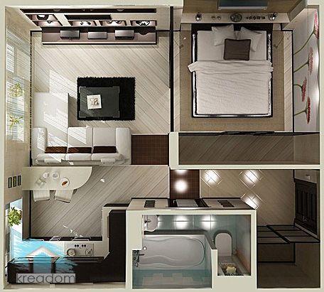 планировка однокомнатной квартиры со спальней
