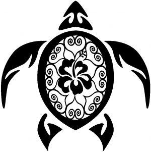 Sea Turtle Swirl Hearts Hibiscus Flower Car or Truck Window Decal ...