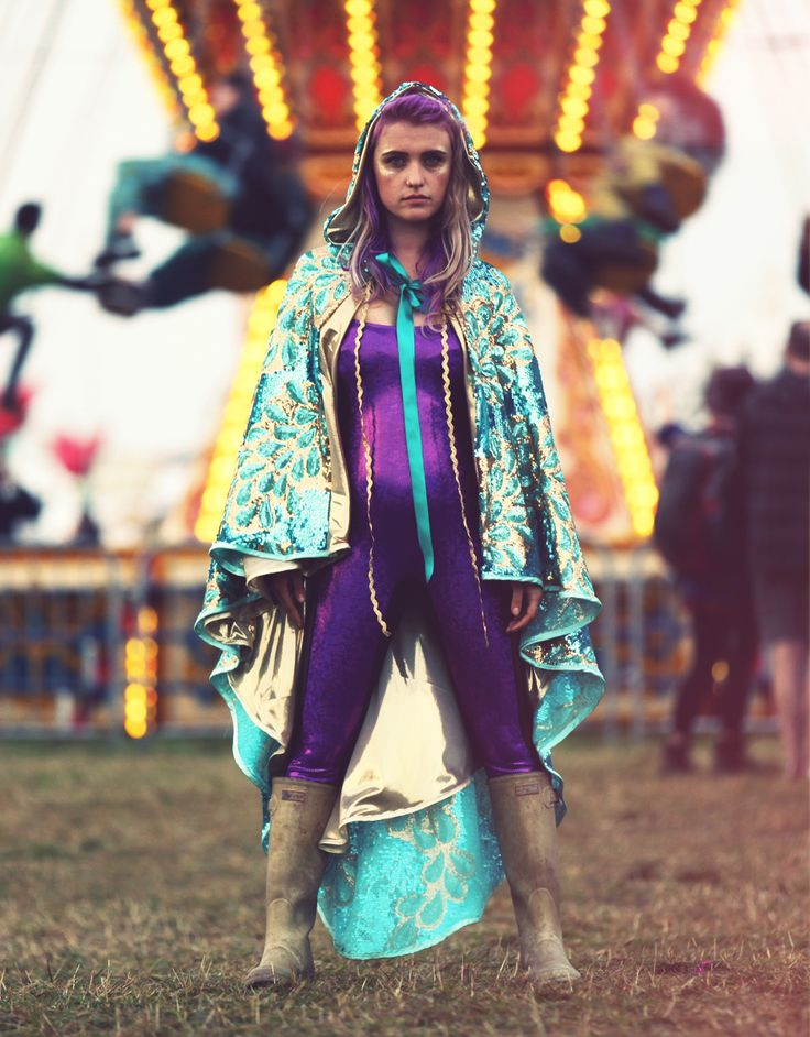 Capes capes capes... and some more capes at Shambala Festival. Incredible cape from Capes Capes Capes, gold hunter wellies and purple puckoo couture catsuite