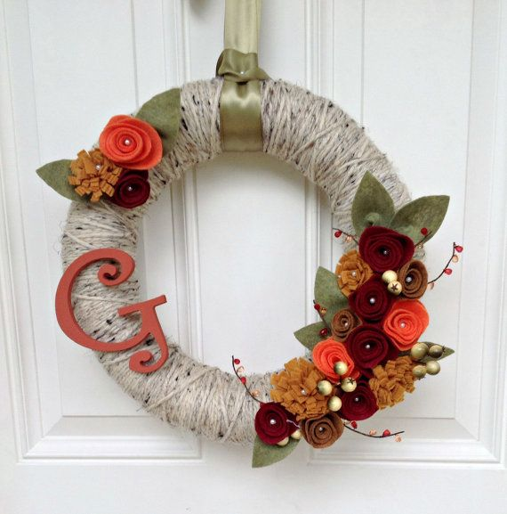 Fall Yarn Wreath with Felt Flowers and Monogram, Personalized Wreath, Autumn Wreath, Home Decor, Mantel Decor, Front Door Wreath, 12 Inch
