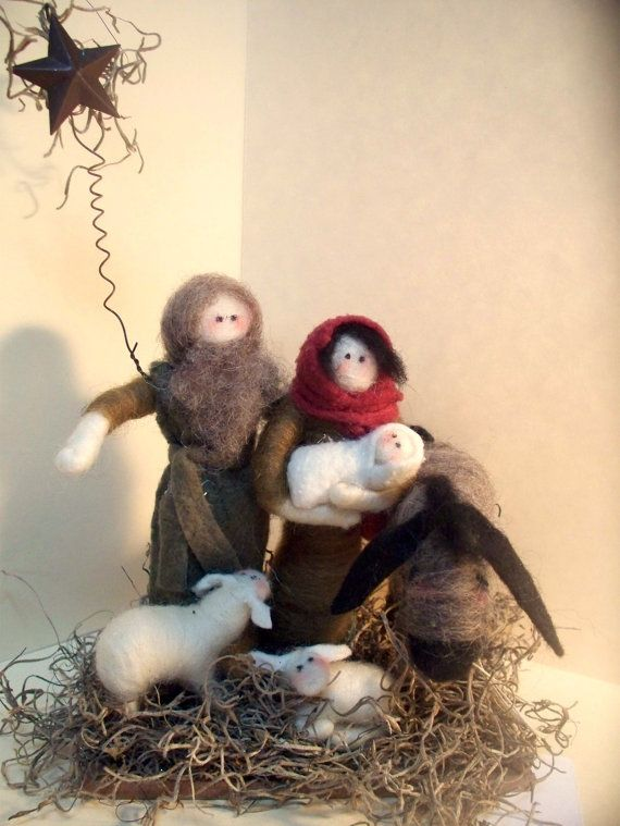 Nativity+6Piece+Wool+Wrapped/Needle+Felted+by+WhimsicalWoolies,+$85.00