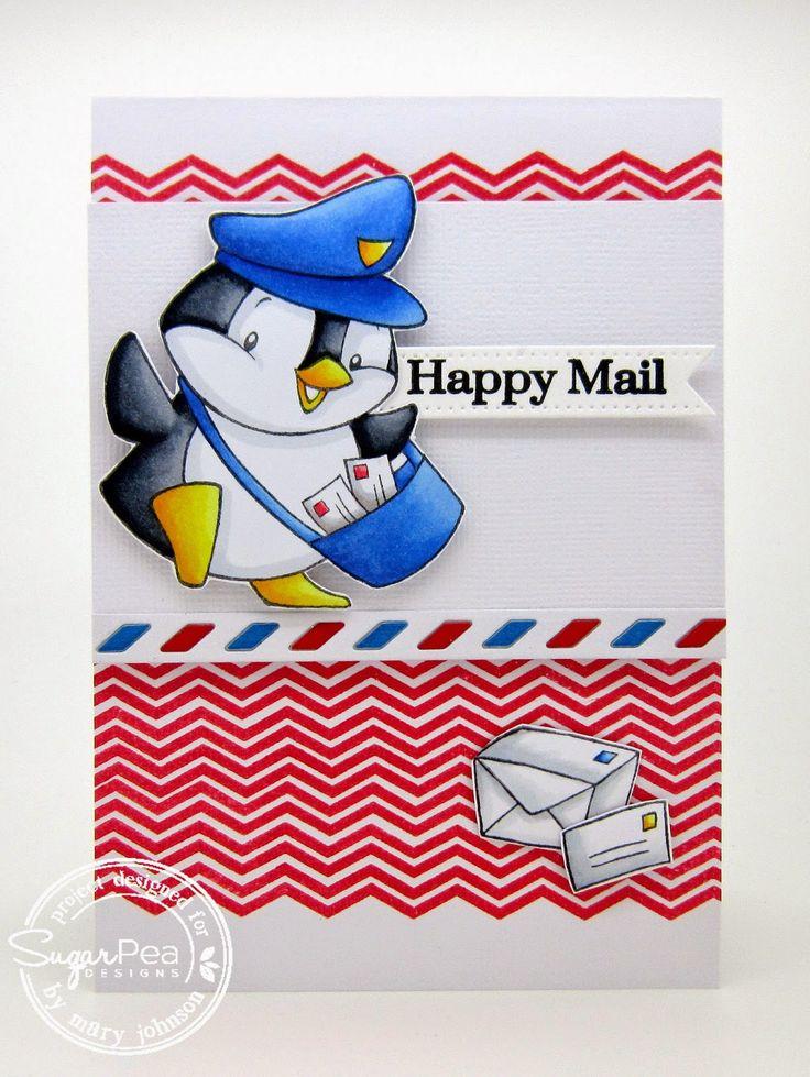 Using SugarPea Designs Happy Mail stamp set, SugarCuts Air Mail border die, SugarCuts Gift Tag die set by Mary J #SPD #sugarpeadesigns