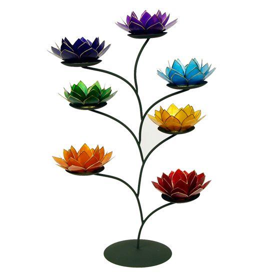 Display + 21 lotus sfeerlichten zilverkl. randen SET