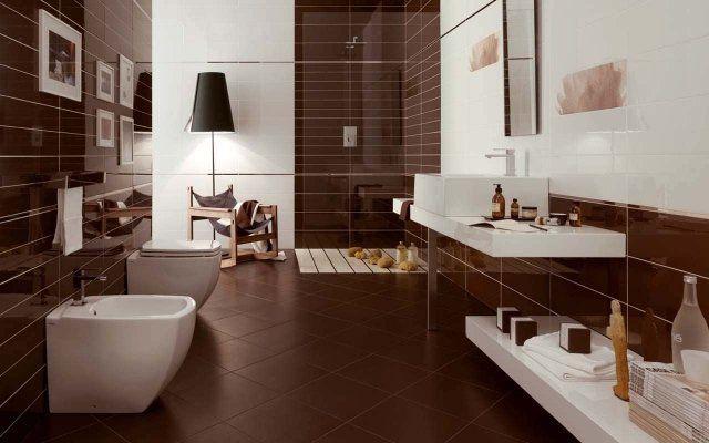 idées carrelage salle de bains de couleur marron