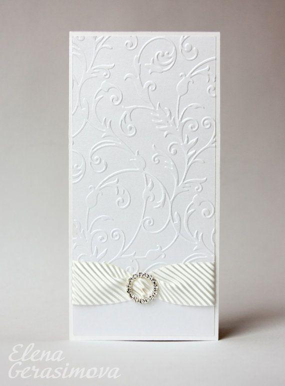 Wedding invitation White Ivory invitations embossed by feltdaisy, $6.00
