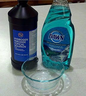 The Only Spot Remover You'll Ever Need- One part Dawn dishwashing liquid mixed with two parts HYDROGEN PEROXIDE.  Pour the mixture directly on the stain, and watch it disappear like MAGIC. (Particularly tough stain, can add baking soda & scrub.)