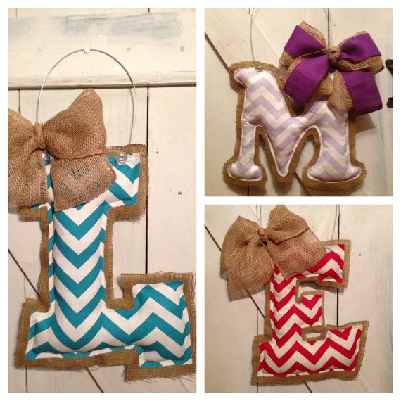 Monogram/Initial Customized Burlap Door Hanger on Etsy, $25.00