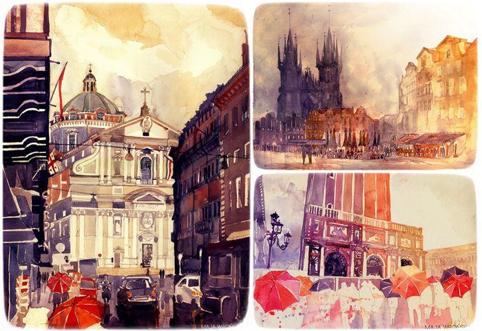 Акварельные портреты городов и улиц. Живопись Майи Вронской (Maja Wronska)