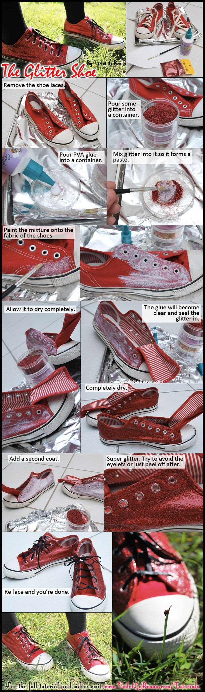 The simple way to make glitter shoes. Mixing with PVA first means there's no chance of a glittery mess everywhere.    Full original tutorial on my blog here: http://violetlebeaux.com/2010/05/sneaker-sunday-week-6-glitter-shoes/