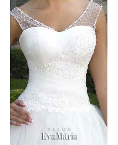 LINNET - krásne luxusné dlhé svadobné šaty s čipkovaným živôtikom a širokou sukňou