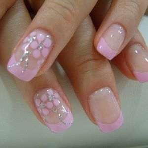 pink french manicure nails - uñas manicura rosa ♛