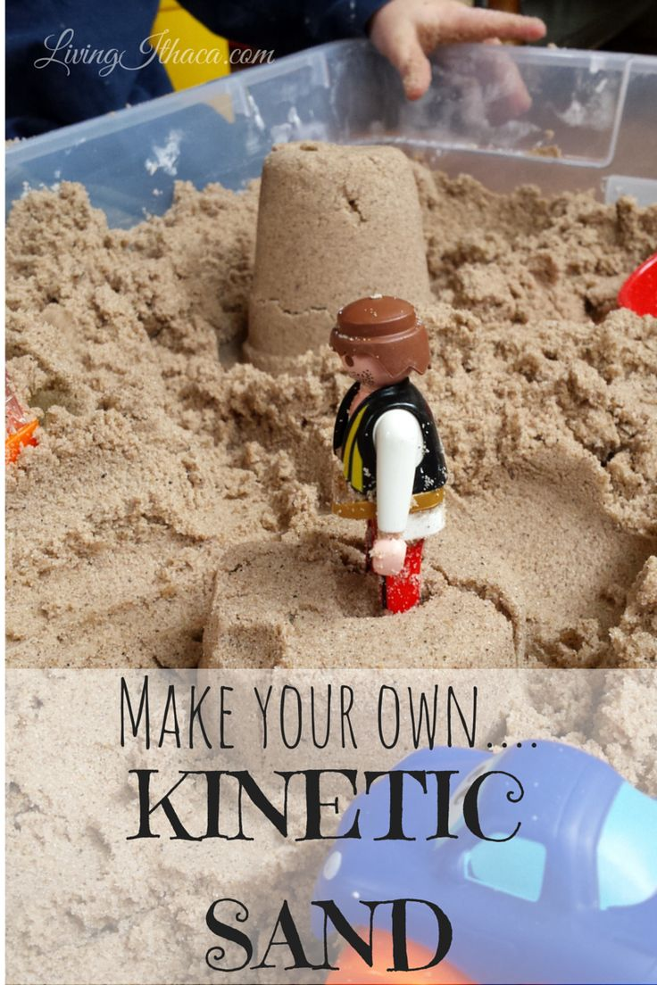 This DIY recipe for Kinetic Sand only takes 3 ingredients, and costs about a third of what commercial brands of Kinetic Sand retails for. Kids love sensory play like this, and will occupy them for hours. See how to make your own Kinetic Sand here! http://livingithaca.com/diy/make-kinetic-sand/