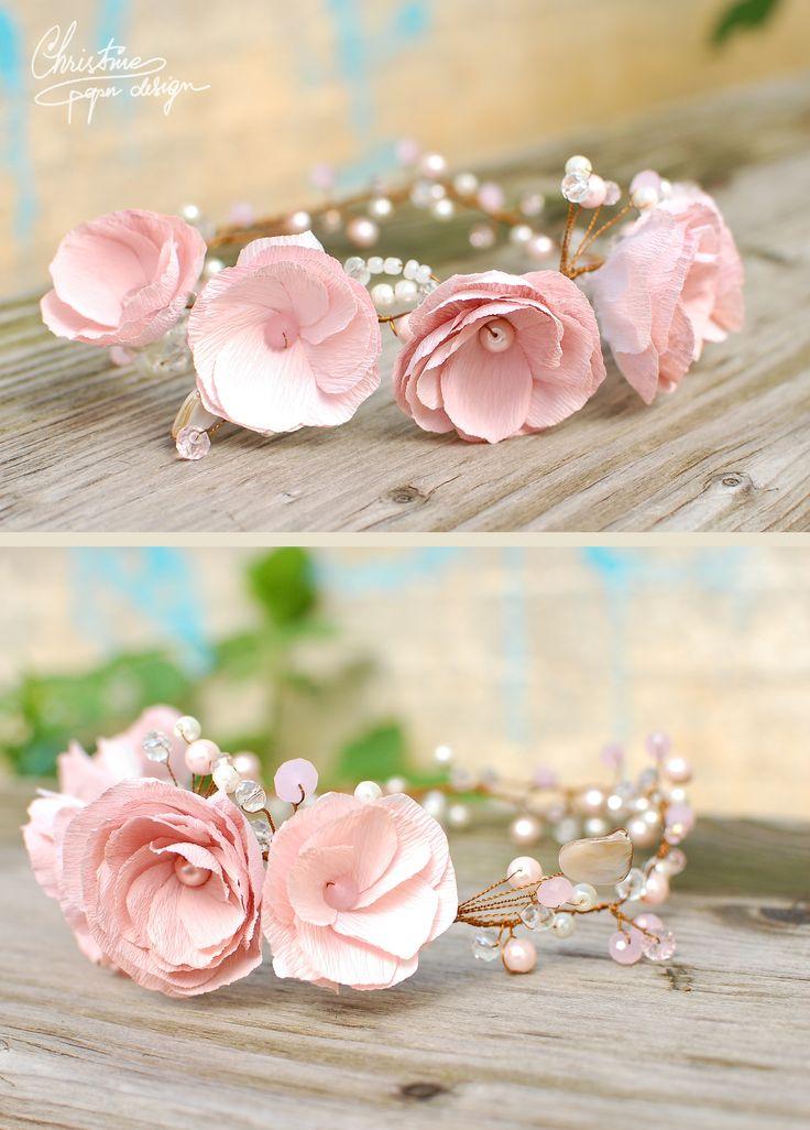 handmade wedding paper flower crown, delicate and sweet.