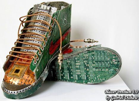 Shoe sculptures with e-waste. By Gabriel Dishaw
