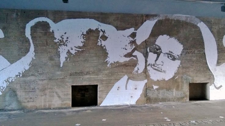 Kiss of love or kiss of death? #Snowden street art at #Helsinki.