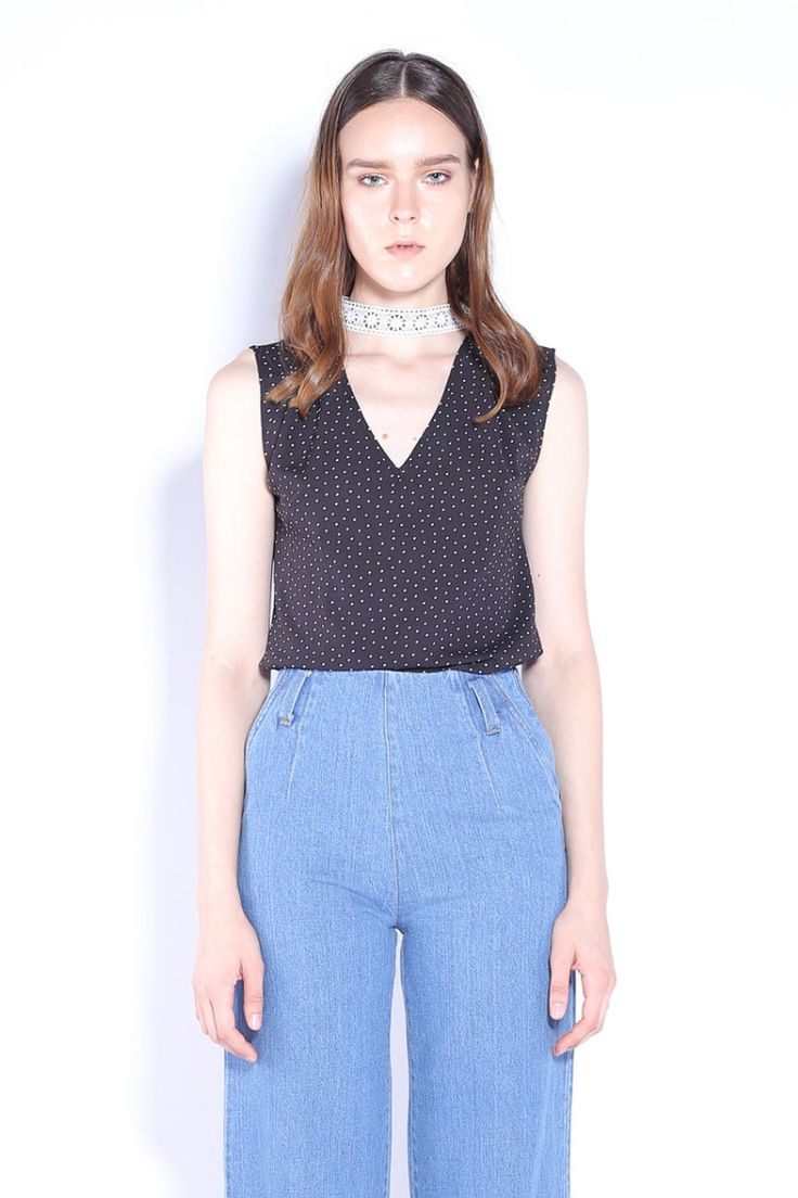 STARRY NIGHT | Detachable Lace Choker Spotty Top