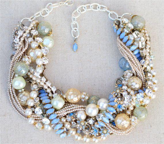 Chunky Pearl Statement Necklace Something Blue Champagne Wedding Jewelry Vintage Rhinestone Flower Bridal Tom Binns Style