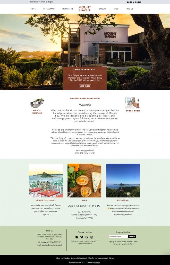 Branding And Website Design For The Mount Haven Hotel In Marazion By Nixon Design Website Design Design Nixon