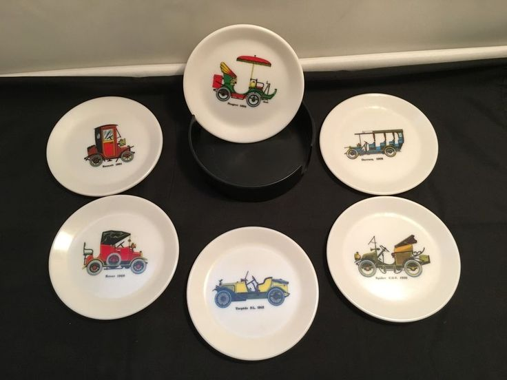 Collectable Drink Coasters – bessemer 6 pcs. Set with Rack- Vintage Cars Designs in Collectables, Barware, Coasters   eBay!