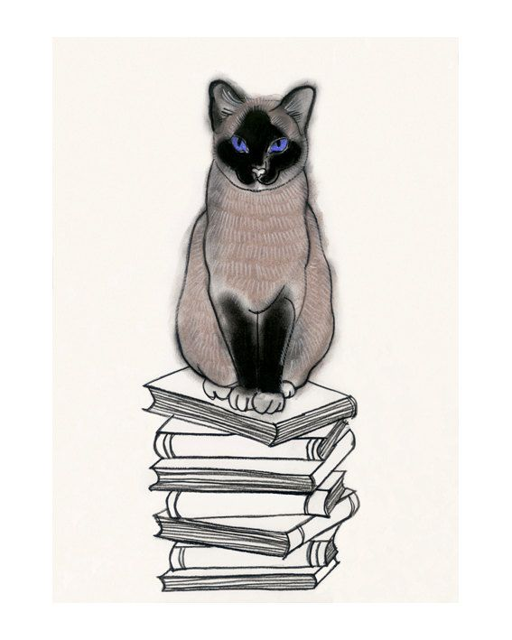 Chat siamois Art Print - I coeur livres - 8,3 x11.7 impression = imprimer A4 - 4 à vendre 3