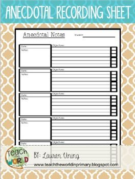ANECDOTAL NOTES TEMPLATEUse this template to record observations and student progress in your classroom.Two versions included: single student and reading group. Includes space to write your observations and notes when working one-on-one with a student or in a small group.