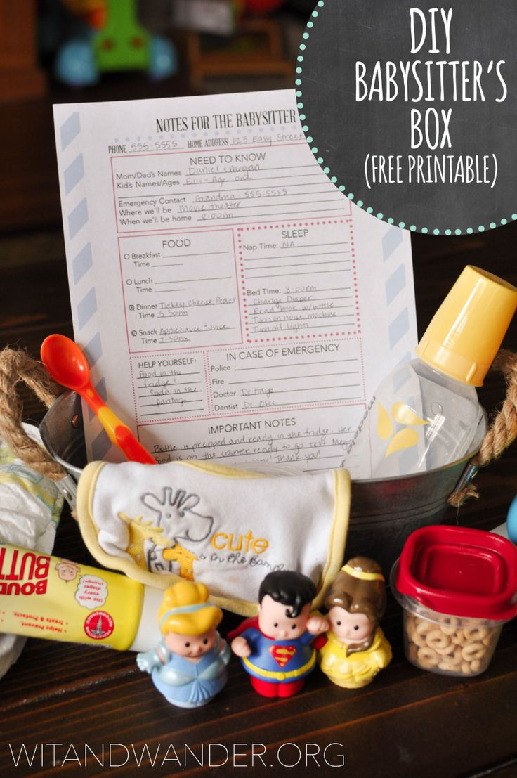 DIY Babysitter's Box and Free Printable | Wit & Wander  Download a FREE 'Notes for the Babysitter' Printable and learn how to make a DIY Babysitter's Box for mom and dad's night out!