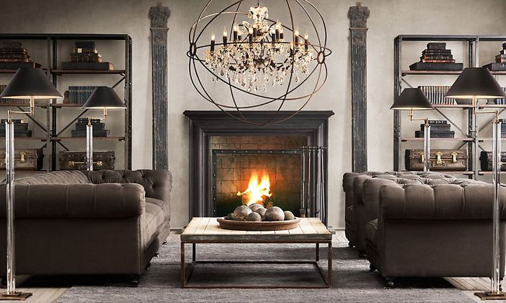 Stunning use of symmetry with an beautiful orb chandelier to anchor the space a gathering - Small spaces restoration hardware set ...
