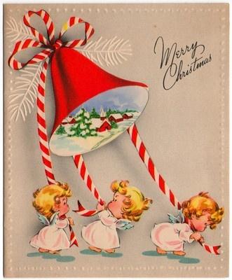 Vintage Greeting Card Christmas Angels | eBay