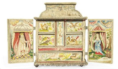 mid 17th century needlework casket with scenes from the life of Abraham. It is worked in tent stitch employing silk and metal threads. The front has hinged double doors depicting two ladies before a castle, the individual sides are worked with biblical scenes, including Jacob's Ladder and the Banishment of Hagar. There is a hinged lid embroidered with the Sacrifice of Isaac and Rebecca at the Well, the underside of the lid is embroidered in long stitch with the personification of…