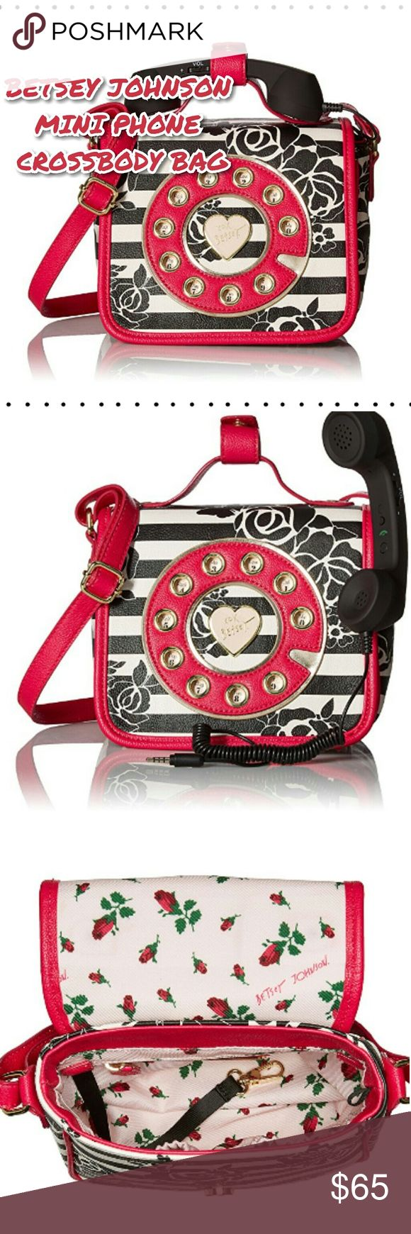 """🆕🆕✨BETSEY JOHNSON MINI PHONE CROSSBODY BAG🆕🆕✨ 🎀Omg how cute is this?!?! 🎀Color is more of a deep pink, not red 🎀Boutique, NWT, NIB, NOT ELIGIBLE FOR BUNDLE  🎀Firm price 🎀Dimensions: Magnetic snap closure 22"""" shoulder drop 8"""" high 7"""" wide  2 interior slots 1 interior zip slot Betsey Johnson Bags Crossbody Bags"""