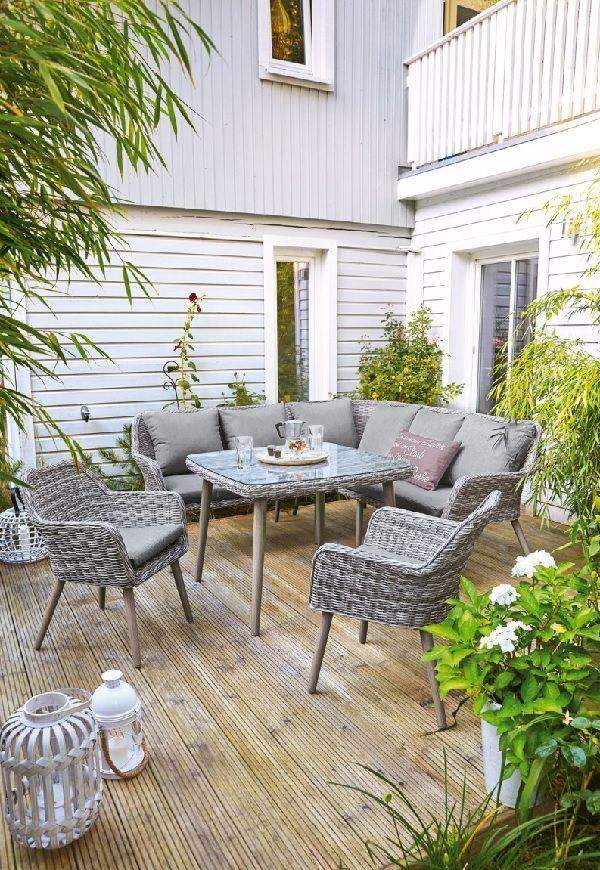 Outdoor Stuhl Gartenstuhl Mit Armlehne Und Sitzpolster Melina Grau Braun Garten Terrasse Balkon Gartenstuhle Sitzlounge Garten Haus Deko