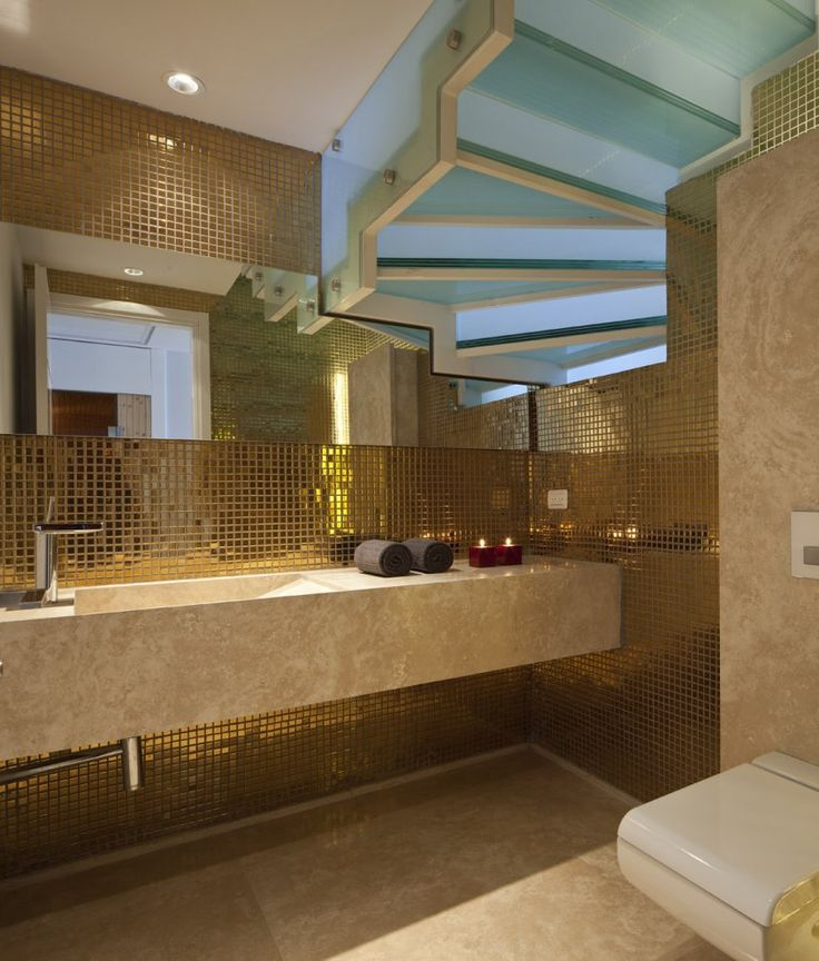 Golden Details Bathroom Luxury Opera Penthouse With Inspiring Armani Design D Cor In Israel Look At The Staircase
