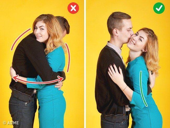 Поза в обнимку. Фото10.   Не переусердствуйте, обнимая своего партнера, иначе превратитесь в одну странную фигуру. Просто притягиваем девушку к себе и, например, целуем в щеку. И снова не забываем об осанке.